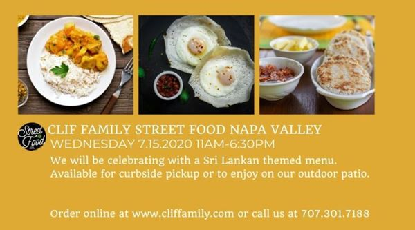 Clif Family Street Food Napa Valley: Sri Lankan Menu