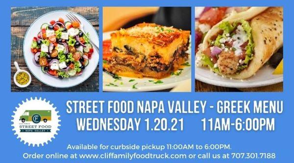 Upcoming Event - Clif Family Street Food Napa Valley: Greek Menu